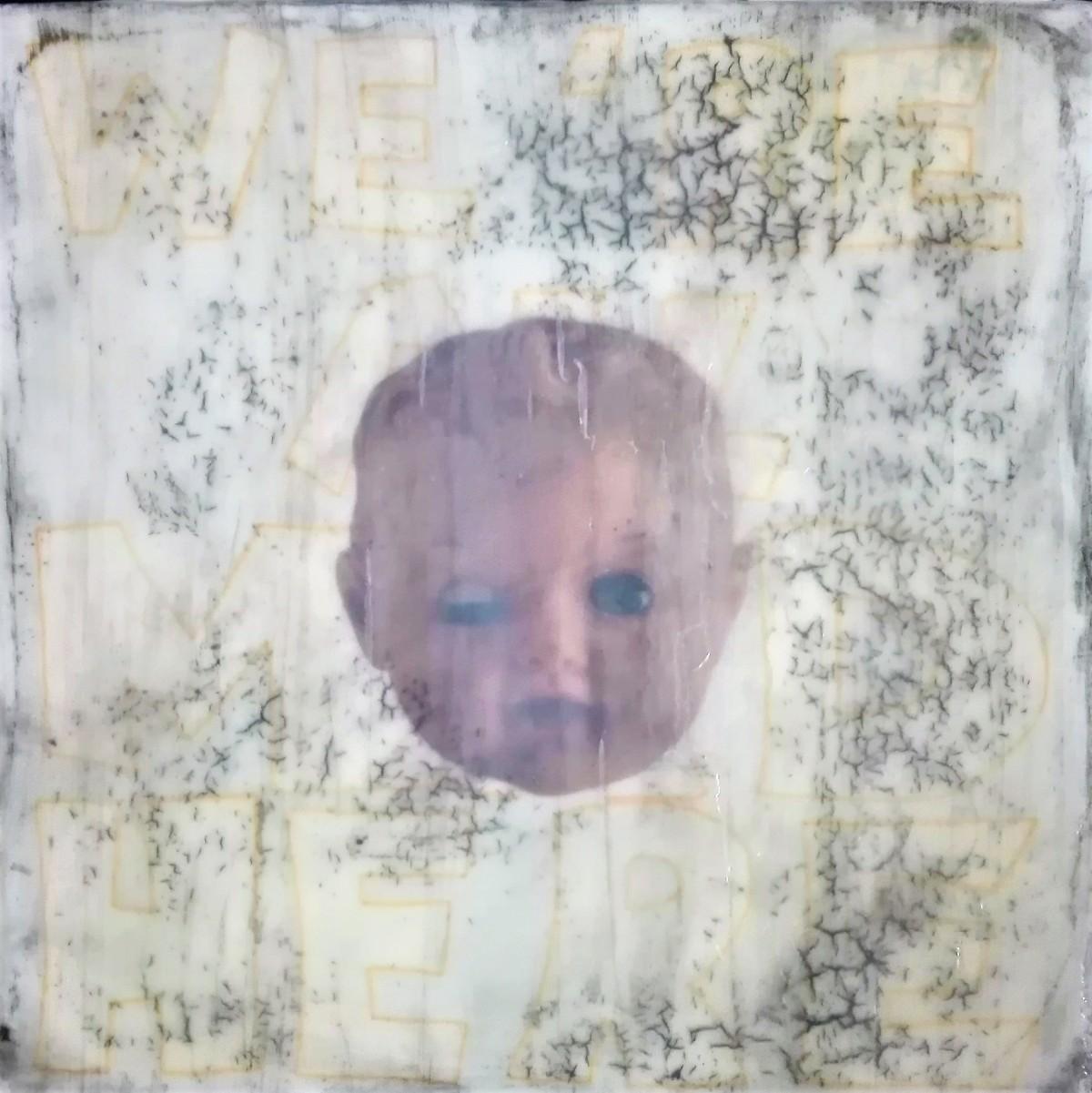 """portrait of a long lost love 3"" - acryl, papier, kunstharz auf leinwand - 40 x 40 x 8 cm"