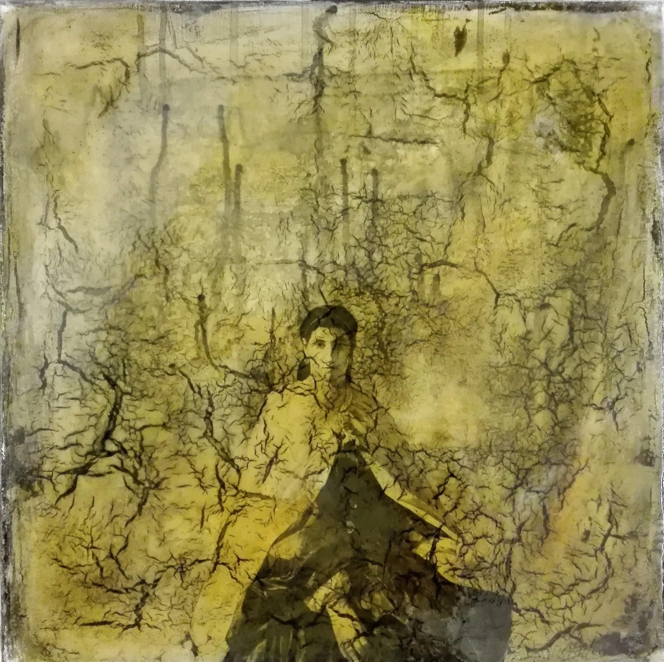 """ask me questions"" - acryl, papier, kunstharz auf leinwand - 40 x 40 cm"