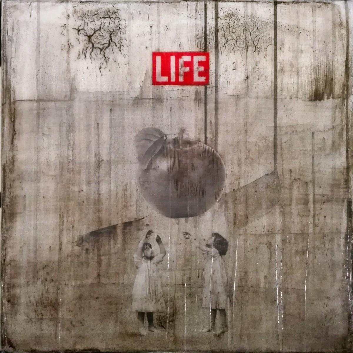 """""""life"""" - acryl, papier, kunstharz auf leinwand - 50 x 50 cm"""