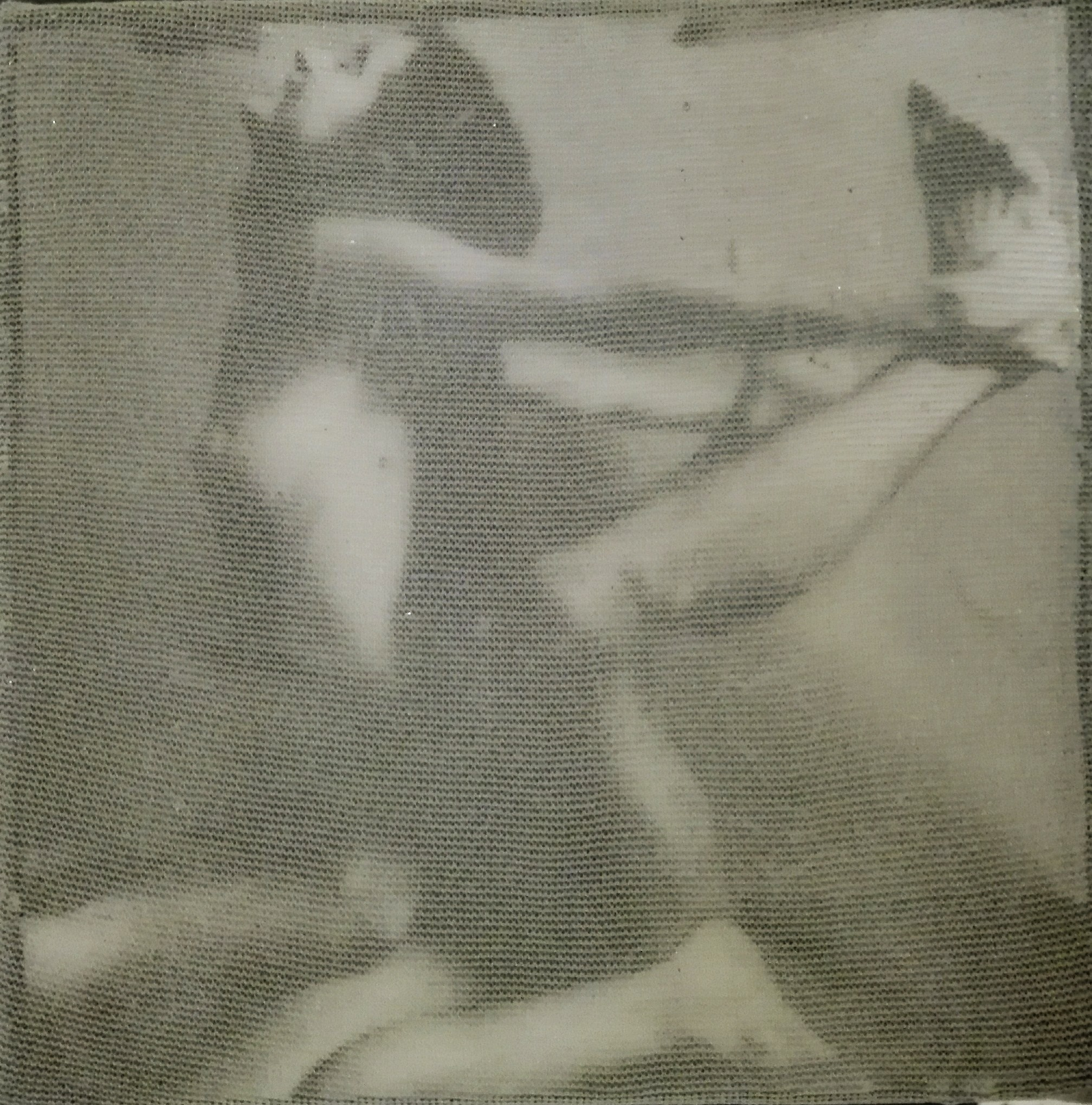 """""""hoppa!"""" - acryl, papier, gewebe auf leinwand - 10 x 10 x 4 cm"""
