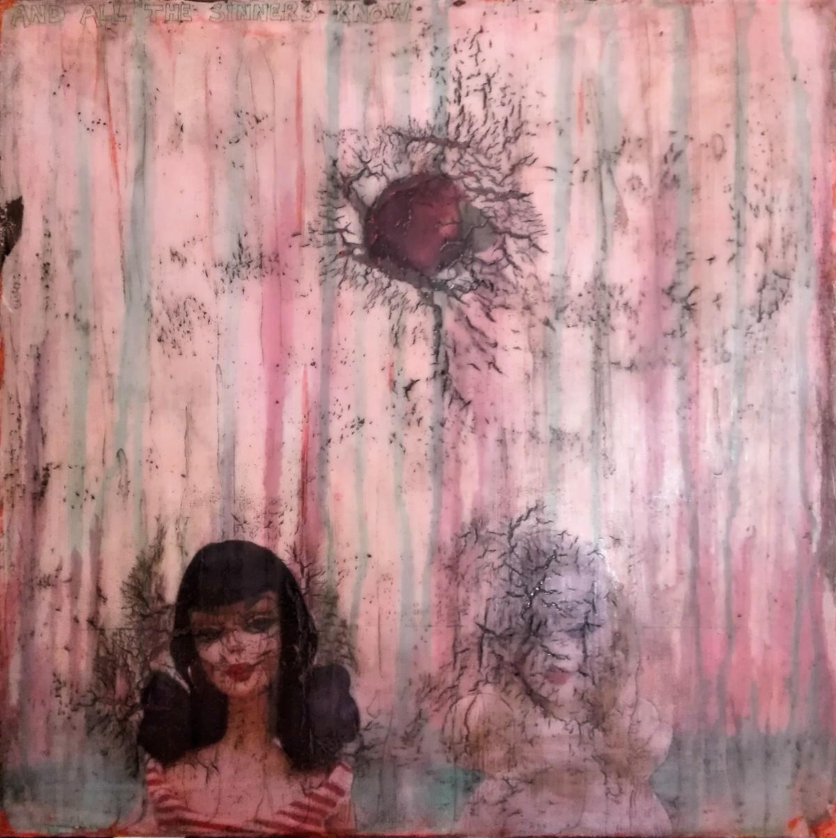 """and all the sinners know"" - acryl, papier, kunstharz auf leinwand - 60 x 60 cm"