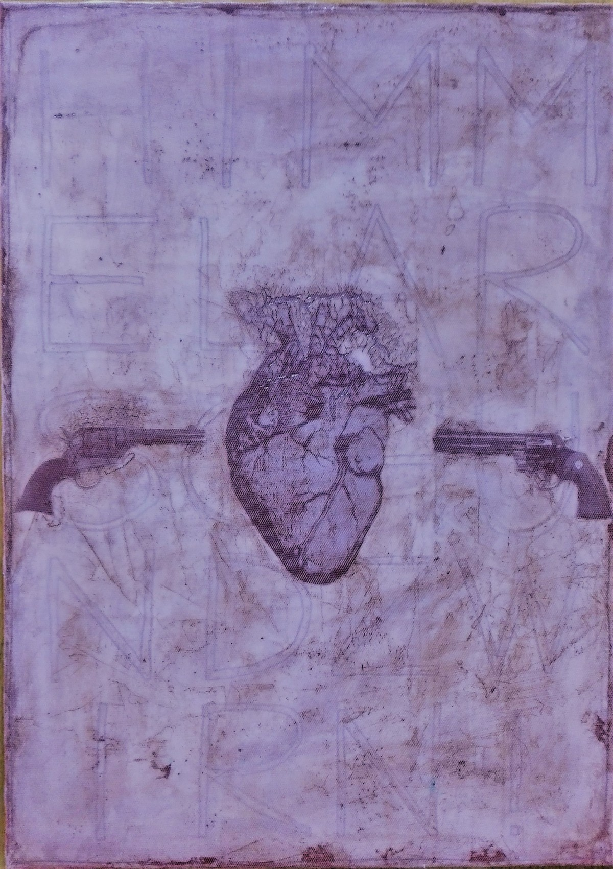 """the room with the two way door"" - acryl, papier, gewebe, kunstharz auf leinwand - 70 x 50 cm"