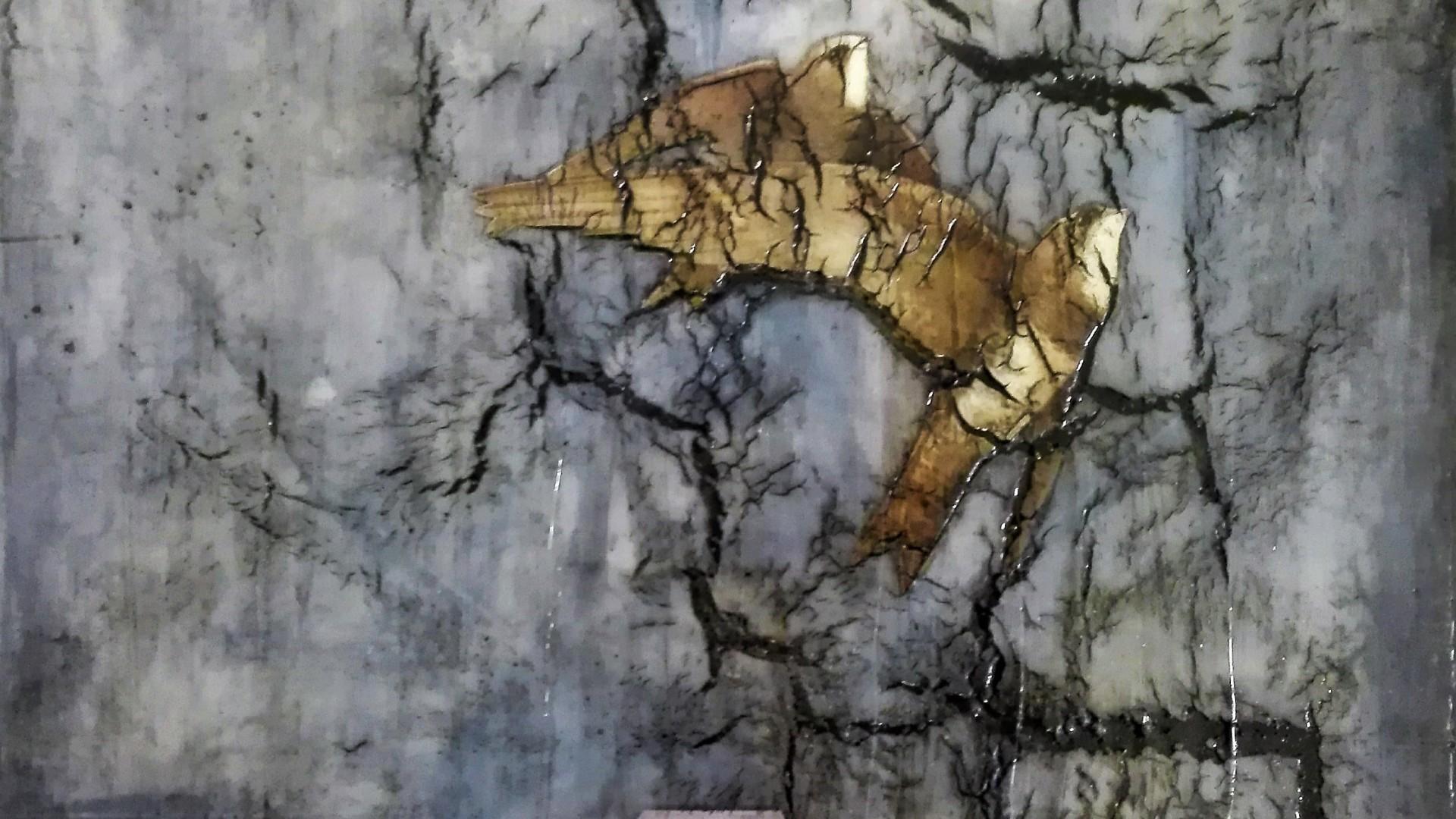 """hope"" - acryl, papier, kunstharz auf leinwand - 40 x 40 cm"