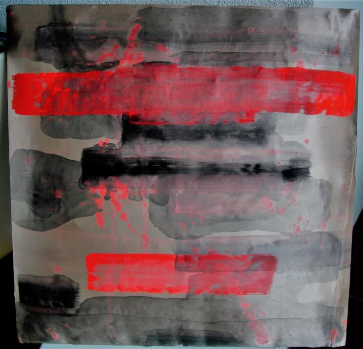 "flat jack ""o.t."" - gewebe, acryl auf leinwand, gepolstert - 50 x 50 x 8 cm"