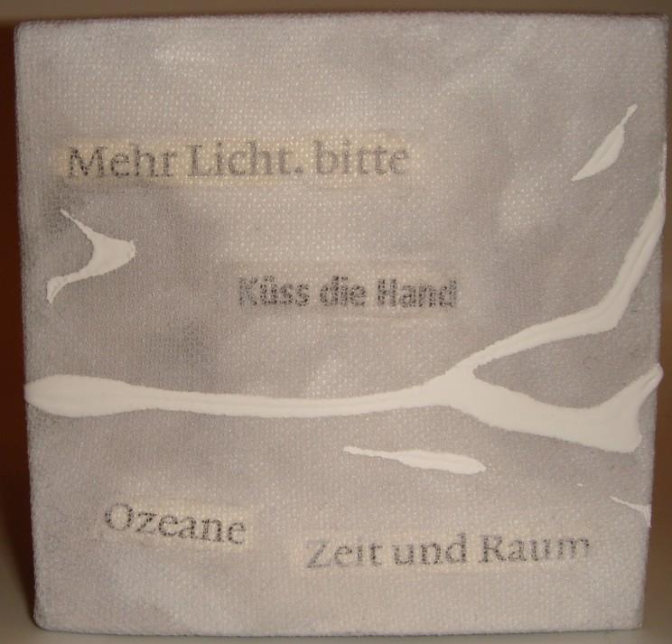 """""""mehr licht"""" - acryl, gewebe auf leinwand - 10 x 10 x 4 cm"""