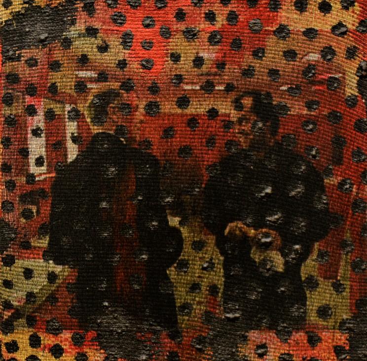 """o.t."", 2013, gewebe, acryl auf leinwand, 10 x 10 x 4 cm"