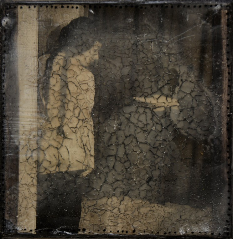 """""""die strafe"""", 2014, acryl, kunstharz auf leinwand, 10 x 10 x 4 cm"""