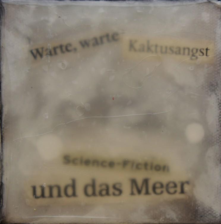 """""""kaktusangst"""", 2009, acryl, kunstharz auf leinwand, 10 x 10 x 4 cm"""