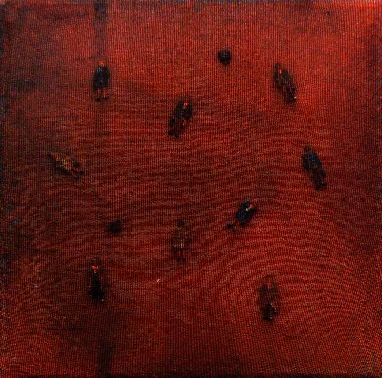 """lost people"", 2013, gewebe, acryl auf leinwand, 10 x 10 x 4 cm"