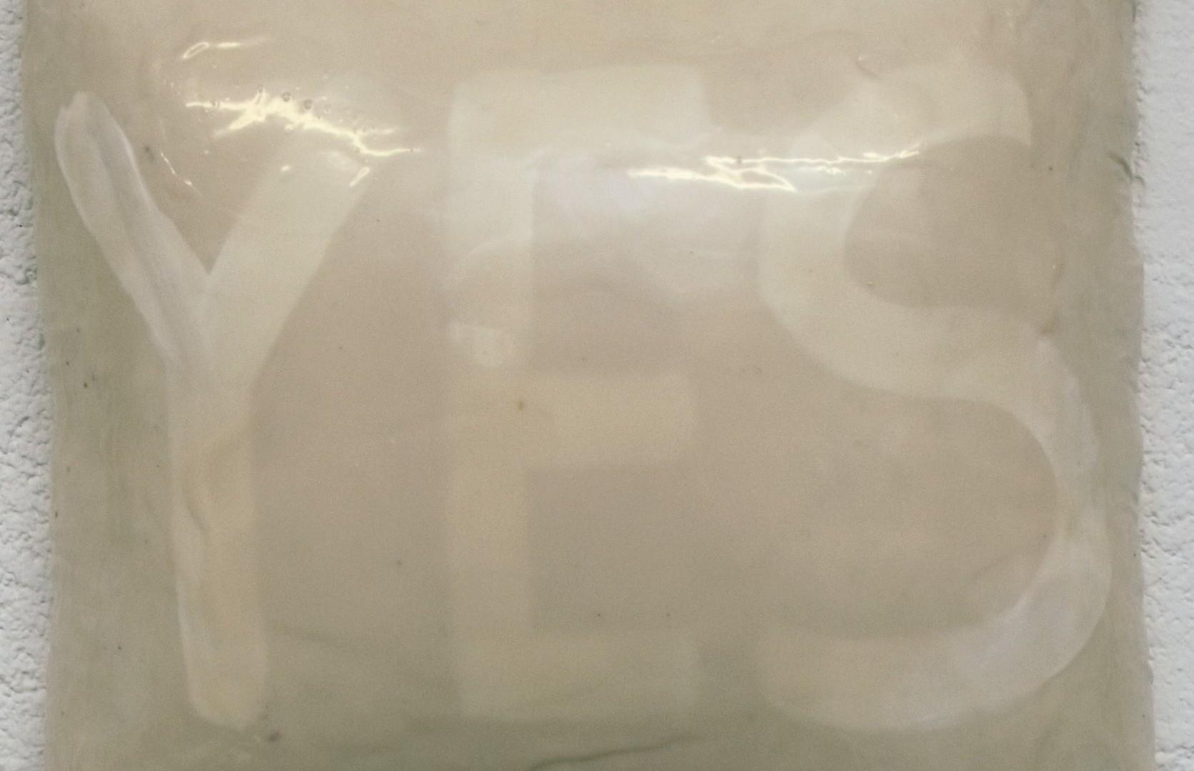 """flat jack """"o.t."""", gewebe, acryl, kunstharz auf leinwand, 30 x 30 x 15 cm"""