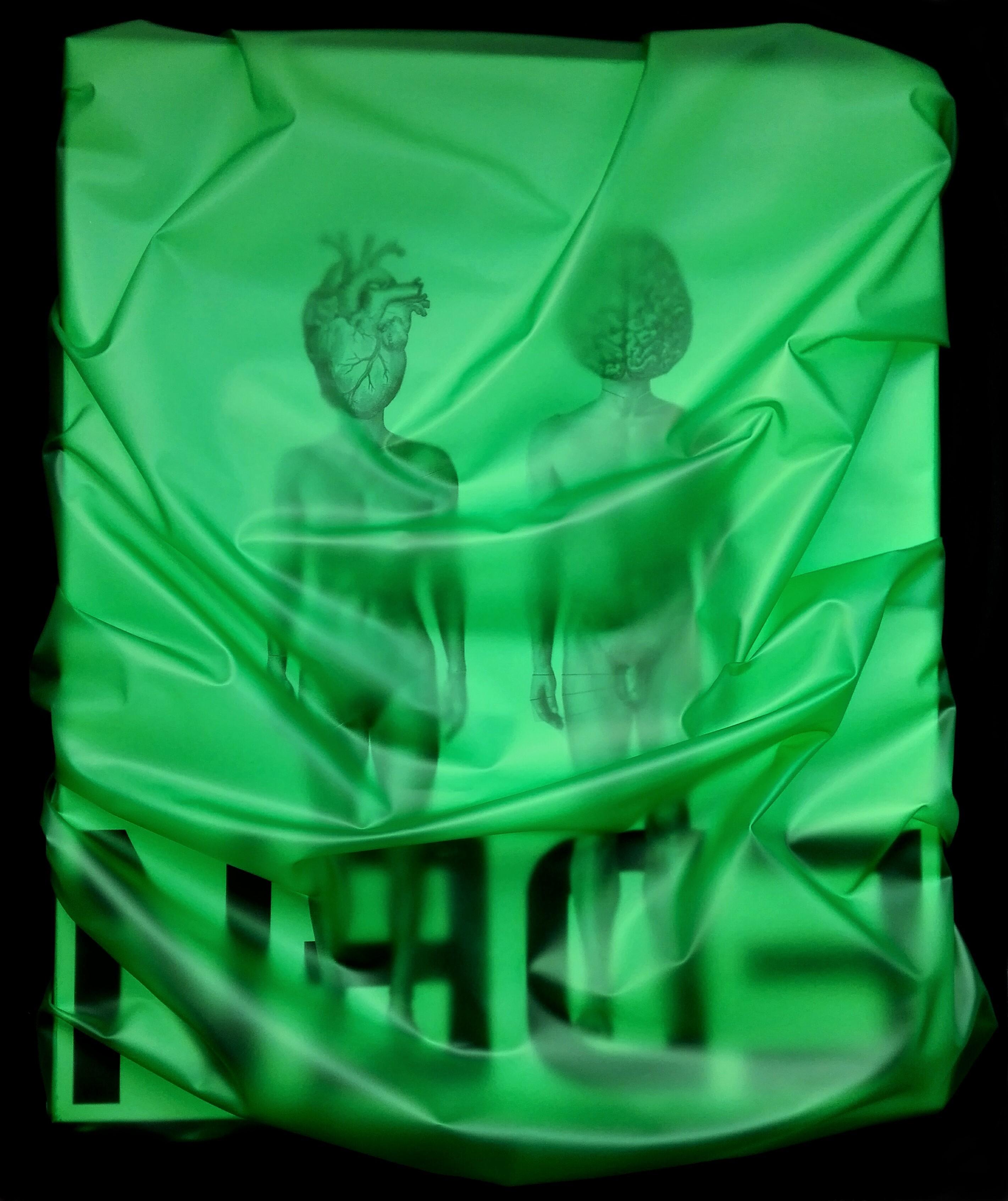 "newton air ""eden has fallen"", 2018, folie, acryl, papier auf leinwand, 125 x 108 x 18 cm"