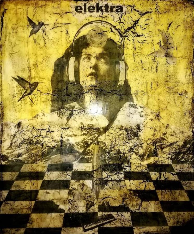 """""""elektra"""", acryl, papier, kunstharz auf leinwand, 60 x 50 cm"""