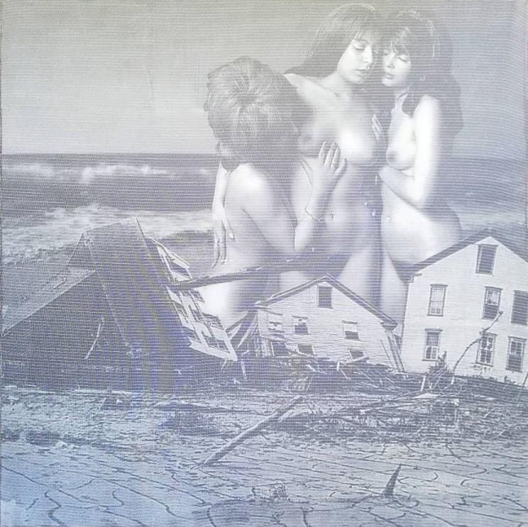 """""""sirens"""", acryl, papier, kunstharz, gewebe auf leinwand, 100 x 100 cm"""