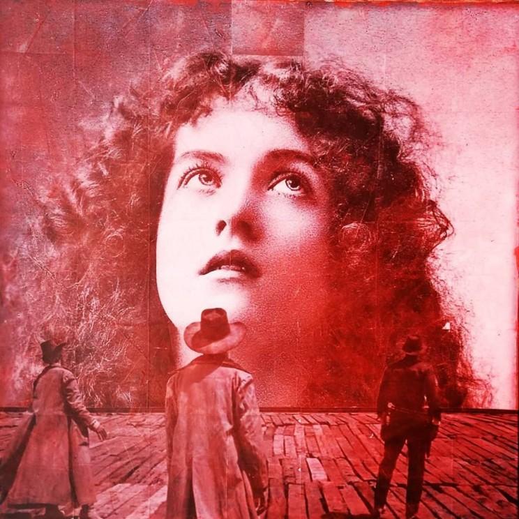 """""""aurora"""", acryl, papier, kunstharz auf leinwand, 100 x 100 cm"""