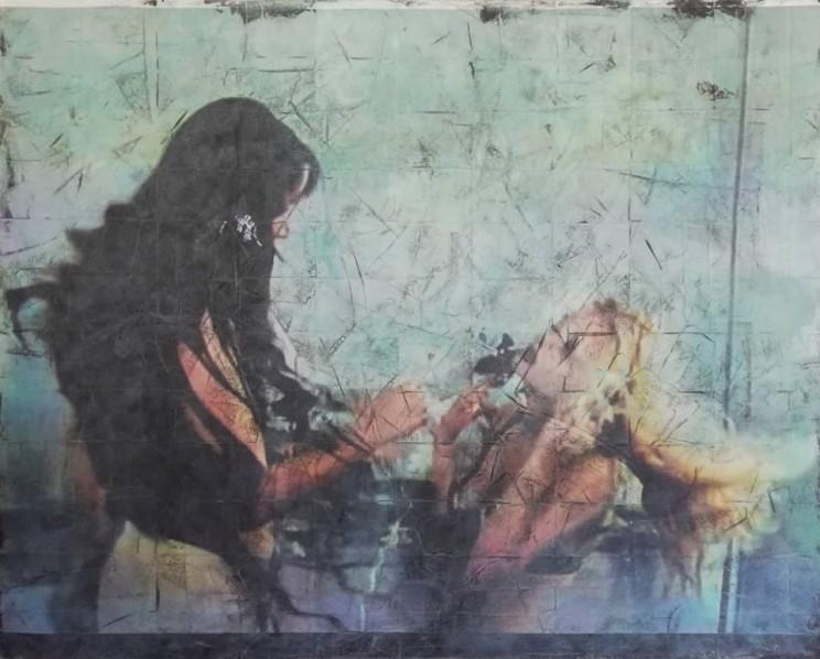 """""""blow"""", acryl, kunstharz, papier auf leinwand, 120 x 150 cm"""