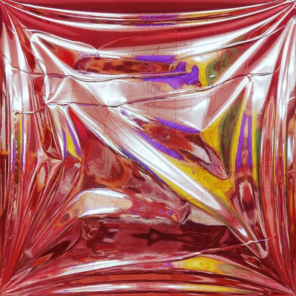 """newton """"o.t."""", folie, gewebe auf leinwand, 80 x 80 x 8 cm"""