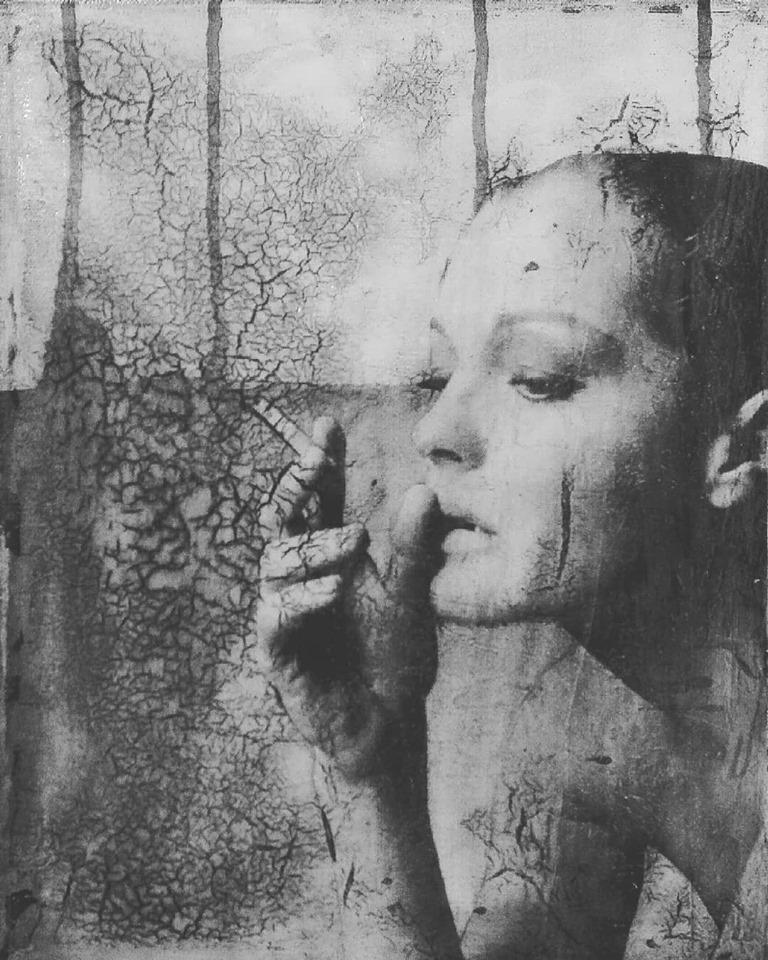 """""""alone with the gods"""", acryl, papier, kunstharz auf leinwand, 30 x 24 cm"""