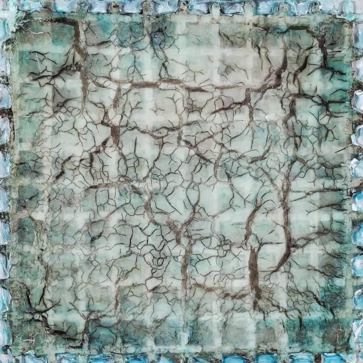 """love will tear us apart (again)"", acryl, kunststoff, kunstharz auf leinwand, 25 x 25 x 5 cm"