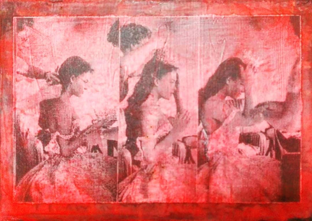 """""""o.t."""", acryl, papier, kunstharz auf leinwand, 15 x 18 cm"""