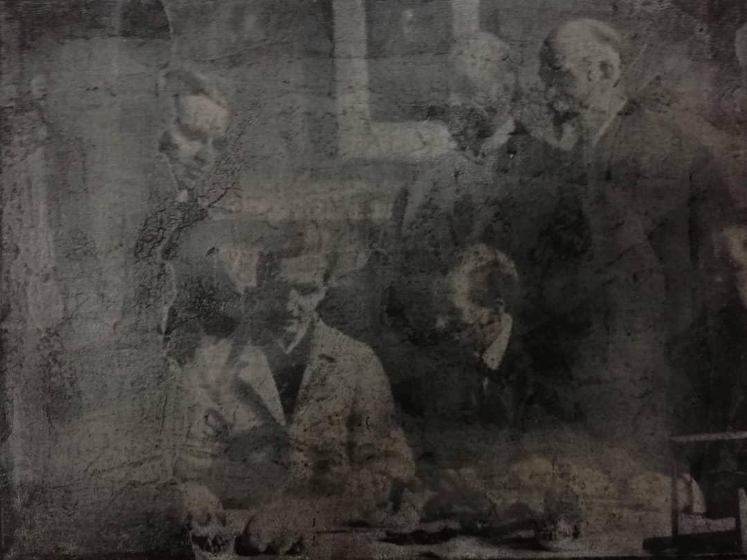 """""""scientists"""", acryl, gewebe, papier, kunstharz auf leinwand, 18 x 24 cm"""