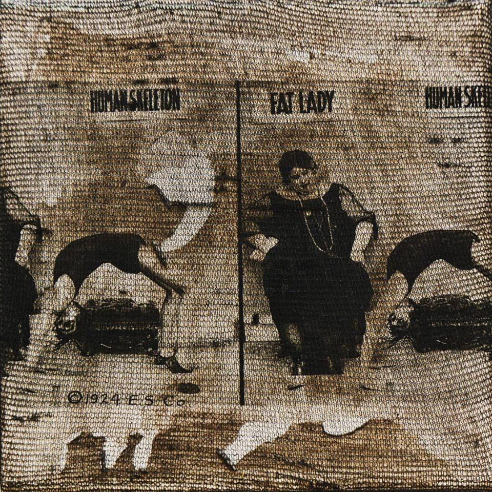 """""""the fat lady"""", acryl, papier, gewebe auf leinwand, 10 x 10 x 4 cm"""
