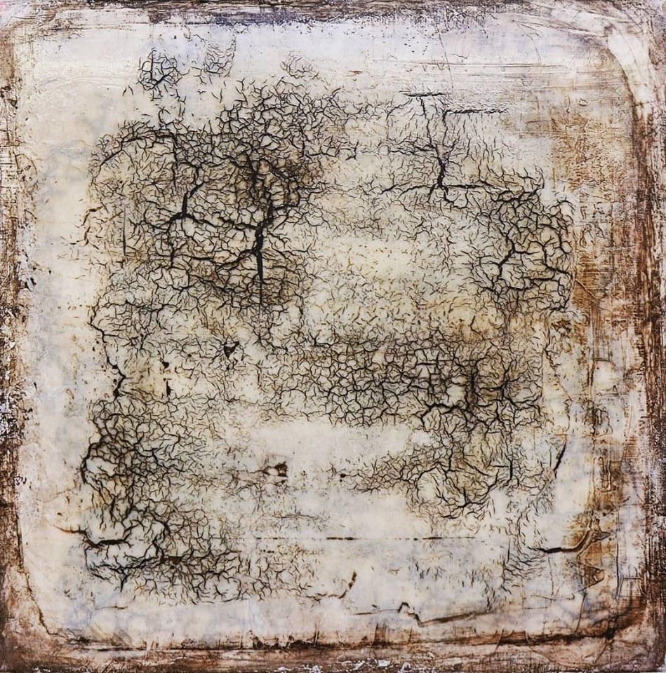 """""""the writing, the roses, the nine cats"""", acryl, kunstharz auf leinwand, 50 x 50 x 8 cm"""